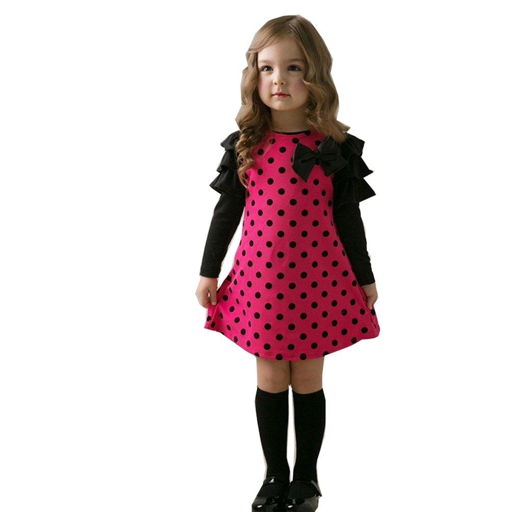 Romapig Kids Girls Winter Princess Bowknot Dots Ruffle Long Sleeve Dress 4T Rose Red 901017A
