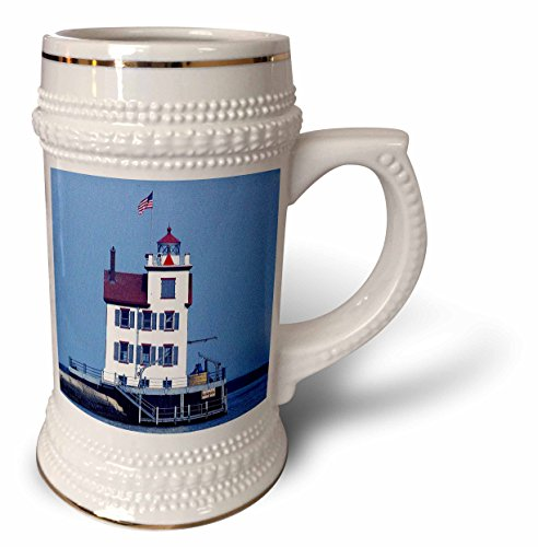 3dRose Sandy Mertens Ohio - Lorain Lighthouse in Lorain Looking Over Lake Erie - 22oz Stein Mug (stn_61706_1)