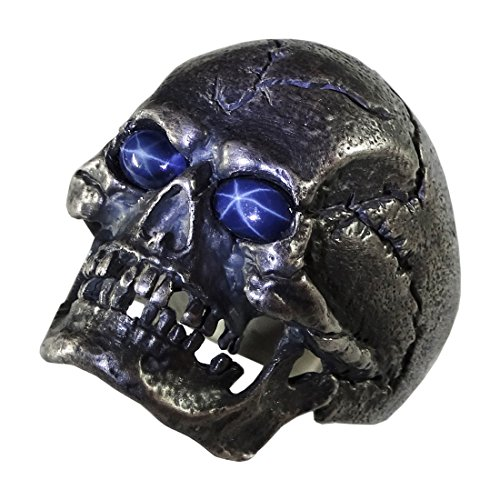 UNIQABLE Full Jaw Skull Natural Blue Star Sapphire Gems Sterling Silver 925 Biker Harley Masonic Ring Skull 7 Sap (12) (Sapphire Biker Ring)