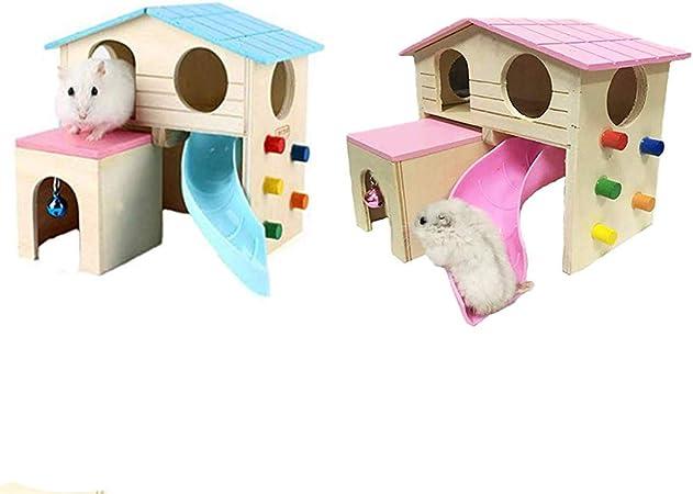 Balacoo Hamster Zona de Juegos Pequeño Animal Escondite Casa Escalada Escalera Diapositiva Campana de Madera Choza Juguetes para Jugar