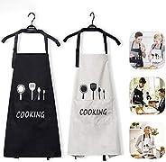 Jasinber Set de 2 Delantales de Cocina, Delantal de Babero de Cocina Impermeable Ajustable con Bolsillos para