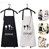Jasinber Set de 2 Delantales de Cocina, Delantal de Babero de Cocina Impermeable Ajustable con Bolsillos para Mujeres Hombres