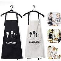Jasinber Set de 2 Delantales de Cocina, Delantal de Babero de Cocina Impermeable Ajustable con Bolsillos para Mujeres Hombres Chef (2 Colors)