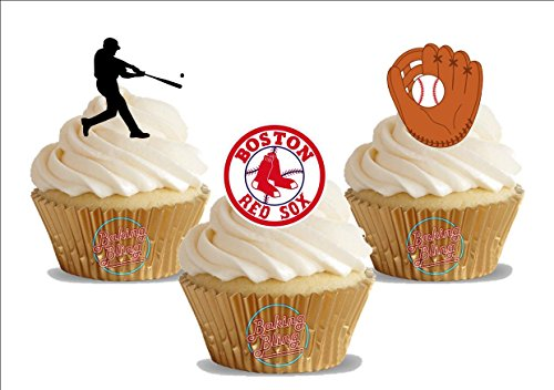12 x Baseball Boston Red Sox Mix - Fun Novelty Birthday PREMIUM STAND UP Edible Wafer Card Cake Toppers Decoration (Sox Red Topper Cake)