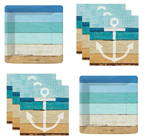 Coastal Nautical Beach Party Supplies Seaside Theme Plates and Napkins -