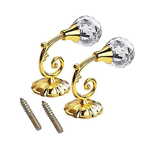 Gotian 1Pair Hanging Hooks Large Metal Crystal Glass Curtain Holdback Wall Tie Back Hanger Holder Screws - Blackout Gold Crystal Blinds