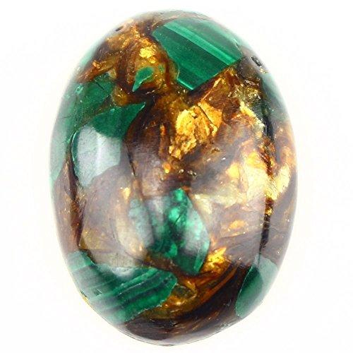 2 Pcs Oval Cabochon CAB Flatback Semi-precious Gemstone Ring Face 25x18mm (Man made Malachite & Copper)