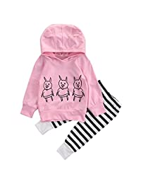 Newborn Baby Girl Clothes Long Sleeve Hoodie Tops + Deer Striped Pants Outfits