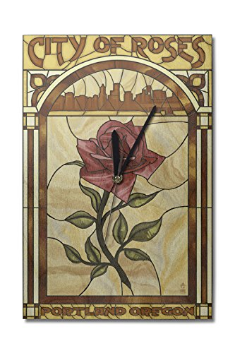 Portland, Oregon - Rose and Skyline Stained Glass (10x15 Wood Wall Clock, Decor Ready to Hang) (Stained Glass Portland)