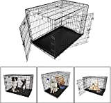 iMounTEK 【XXL 48 INCH】 Folding Metal Pet Dog Puppy Cat Cage Crate Kennel W/Tray. 2 Doors Wire Cage for Training, Removable & Washable Pan Tray [Rust Resistant] Quick Assembly! For Sale