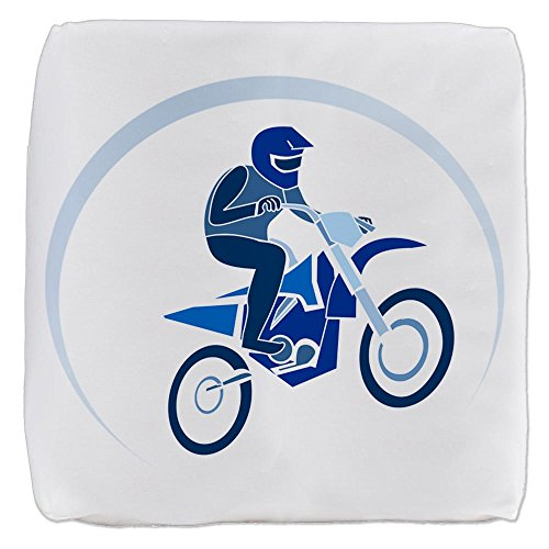18 Inch 6-Sided Cube Ottoman Motocross MX Flying Dirt Bike in Blue