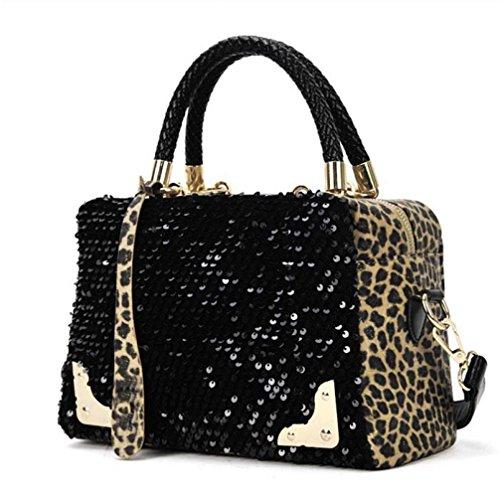 Leopard Bag Fashion (Women Sequin Tote Bag Ladies Fashion Leopard HandBag Cross Shoulder Bags Makaor (26cmx9.5cmx18cm, Black))
