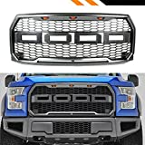 Fit 2015-2017 Ford F-150 F150 Grille Raptor Style Conversion Grill W F R Amber LED (15-17 Matte GRAY)