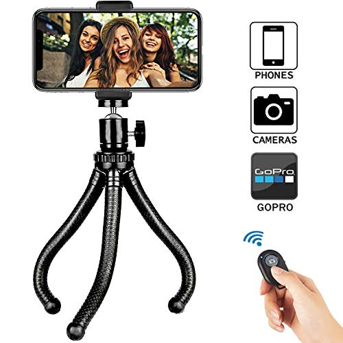 Phone Tripod, Universal Flexible Cell Phone Tripod Stand Grip Holder Mount for iPhone, Android Phone, Camera, Sports Camera GoPro, 360° Rotating Phone Tripod Stand with Wireless Remote