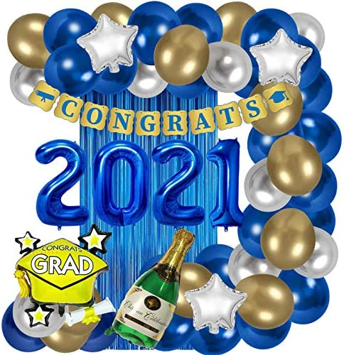 ORIENTAL CHERRY Graduation Party Supplies - Decorations 2021 Blue Gold White - Foil Balloons Fringe Curtain Congrats Grad Banner - Class of 2021 Kindergarten High School Preschool Decor