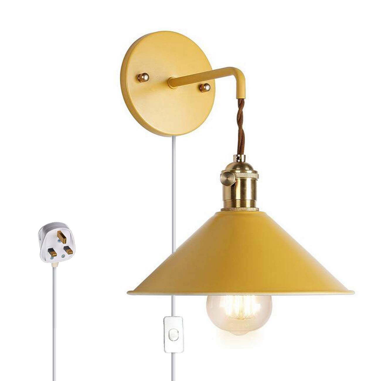 Wall Sconce Lamps Lighting Fixture With On Off Switch And Practical  Plug,Yellow Macaron Wall Lamp E26 Edison Copper Lamp Holder With Frosted  Paint Body ...