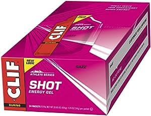 CLIF SHOT - Energy Gel - Razz - No Caffeine (1.2 Ounce Packet, 24 Count)