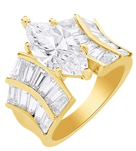 AFFY Marquise & Baguette Cubic Zirconia Solitaire Ring in 14k Yellow Gold Over Sterling Silver (5.20 Cttw) Ring Size - 14