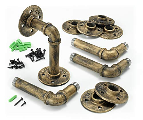 Industrial Iron Pipe Shelving Brackets, Pipe Shelf Brackets, Pipe Shelves - Elbow (4, Gold Bronze) ()