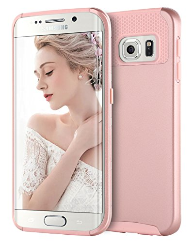 Yellow Butterfly Roses (BENTOBEN Galaxy S6 Edge Case, Samsung Galaxy S6 Edge Case, Slim Hybrid Dual Layer Hard PC Back Cover Soft TPU Rubber Bumper Shockproof Protective Phone Cases for Samsung Galaxy S6 Edge, Rose Gold)