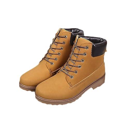 IOSHAPO Botines Planos para Mujer Botines Antideslizantes Resistentes al Desgaste Botas Impermeables con Cordones: Amazon.es: Zapatos y complementos