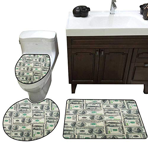 Money Three-Piece Toilet seat Dollar Bills of United States Federal Reserve with The Portrait of Ben Franklin Skidproof Toilet Seat Bathroom Floor Mat Pale Green Grey
