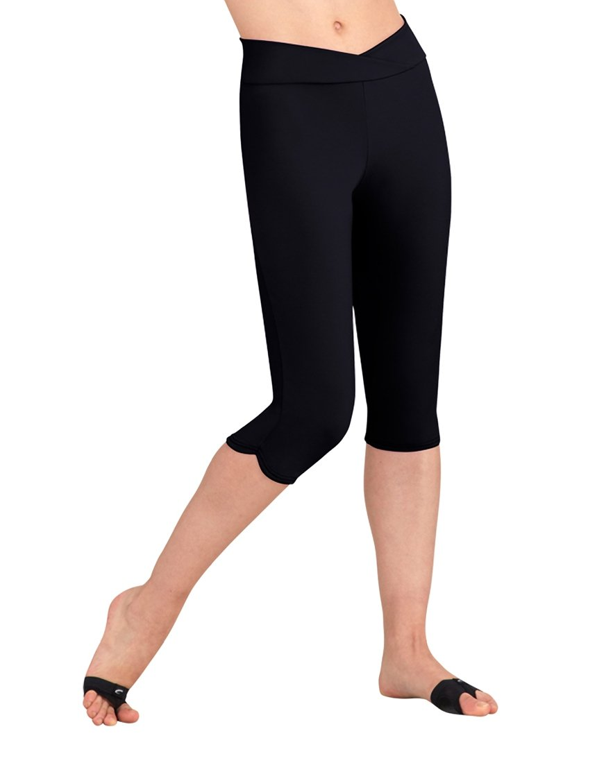 Capezio Girl's Comfort V-Waist Knee Length Capri Pants