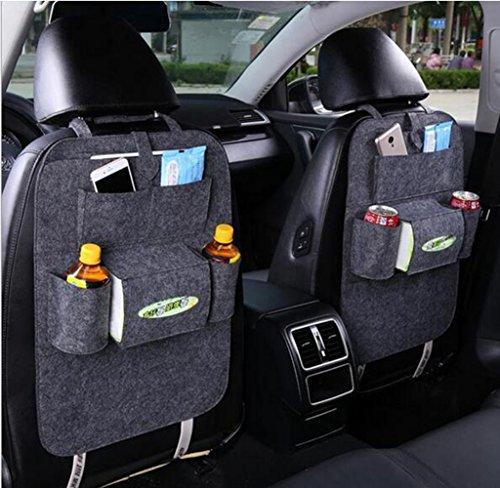 Geekercity 1 Pack Car Back Seat Organizer Woolen - Headrest Dvd Player Dark Gray