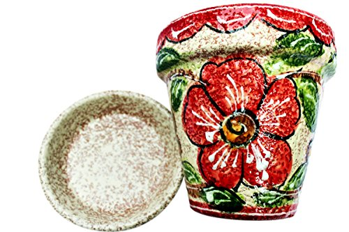 (Spanish Garden Pot and Saucer - Ceramic - Red Design - Hand Painted)
