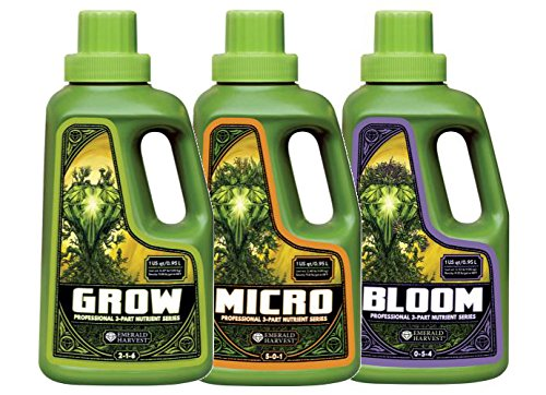 - Emerald Harvest Grow, Micro, Bloom Fertilizer Combo, 0.95 L