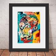 Quadro Decorativo Basquiat Style Banksy Vidro & Paspatur 46x56cm