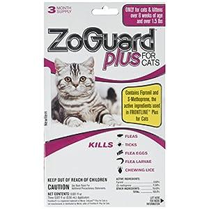 ZoGuard Plus - Cat (Over 1.5 lbs) (3 dose) flea tick lice flea Eggs Larvae Kills Prevent. Better Than Spray Powder Collar 7