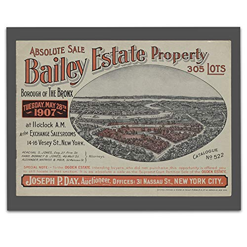 Vintage Poster Auction - Bronx New York Vintage Map - Real Estate Auction - Circa 1907-11 x 14 Unframed Print - Great Housewarming Gift. New York Themed Office Decor. Great Gift for A Real Estate Agent or Developer