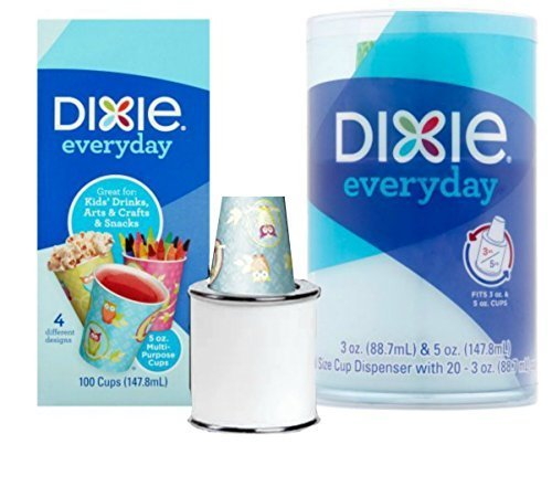 Dixie Cup Dispenser Everyday 5 oz. Cups Kids' Drink, Snacks, Crafts - 1 Dispenser & 100 5 oz cups by MISC