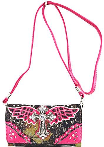 fuchsia Hanbag Biancheria ala Bag Pu Fucsia Leather Portafoglio Donne Croce Fashion Wallet Comobo Letto Blancho Set Da Delle Elegante qUOpXXx