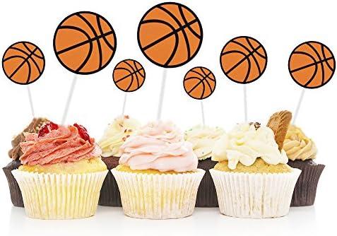 Hzonline Basketball Cupcake Toppers Cake Fruit Food Picks Dessert Table For Boys Kids Birthday Party Baby Shower Wedding Christmas Decor 30pcs