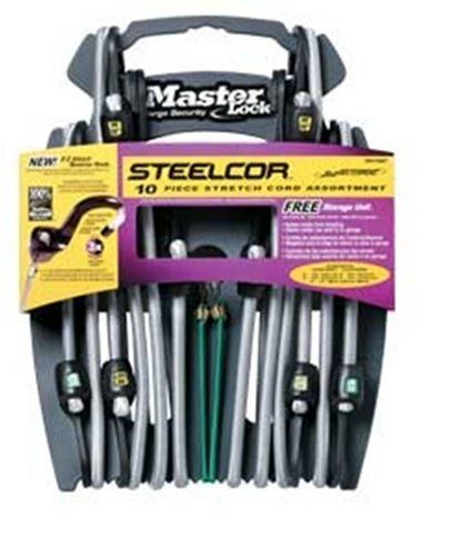 Master Lock 3041DAT SteelCor Bungee Cords with Organizer, 10-Pack