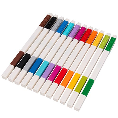 LEGO Stationery - Colored Gel Pens 12 Pack with Building Bricks - .7mm by LEGO (Image #1)