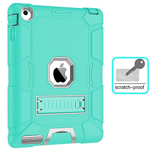 iPad 2 Case, iPad 3 Case, iPad 4 Case, BENTOBEN Heavy Duty Shockproof Kickstand Anti-slip 3 in 1 Full-body Rugged Soft Rubber Hard PC Protective Case for iPad 2 / 3 / 4 9.7 inch, Mint Green/Light Gray by BENTOBEN (Image #6)