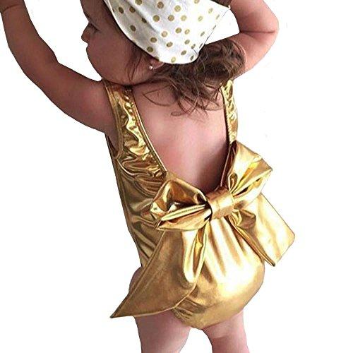 Kehen Baby Girl Gold Sleeveless Backless Dance Romper Leotard Big Bows Bodysuit Jumpsuit Tops