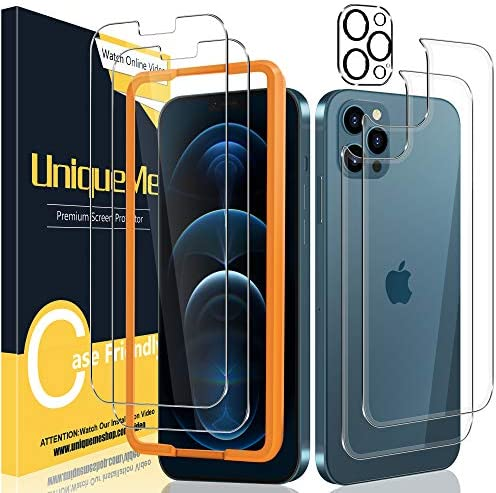 [2+2+1 Pack] UniqueMe Front and Back Screen Protector + Camera Lens Protector Compatiable with iPhone 12 Pro 6.1 inch Tempered Glass Screen Protector with Fame【Not for iPhone 12】【U-Shaped Cutout】.