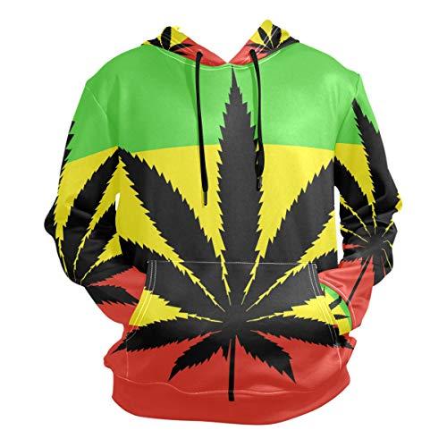 Cannabis Leaf On Rastafarian Flag Men's Long Sleeve Drawstring