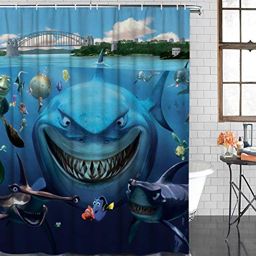 Anzona Waterproof Custom Fabric White Shark Underwater Clown Fish Bathroom Shower Curtain 60x 72IN for Bathroom
