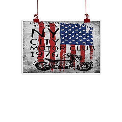 Mangooly Canvas Wall Art American Flag,NYC Motorcycle Club 20