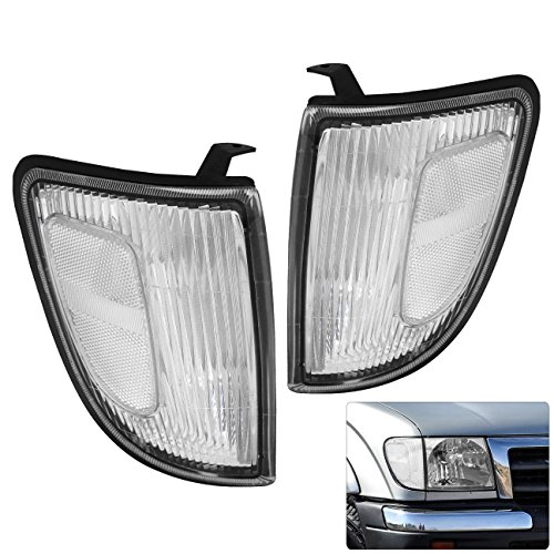 Toyota Tacoma Pickup Truck 4WD Replacement Front Bumper Corner Lights Lamps Left Right Driver Passenger Set Pair Chrome Housing Clear Reflectors