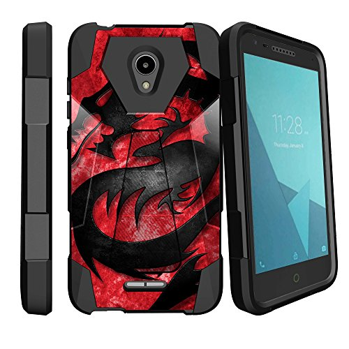 MINITURTLE Compatible with Alcatel idealXCITE, Alcatel Fiji, Alcatel Verso, Alcatel Raven, Alcatel CameoX Kickstand Dual Layer Black Case - Red Dragon