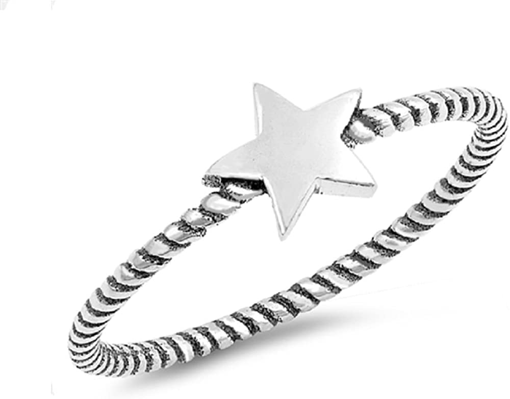 Princess Kylie Oxidized Sterling Silver Star Rope Band Ring