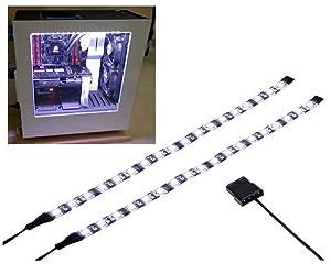 LEDdess LED Light Strip Computer Lighting white, Magnetic, Molex Connector, 2pcs LED Strip for PC Case Lighting Kit (30cm,18leds,S Series)