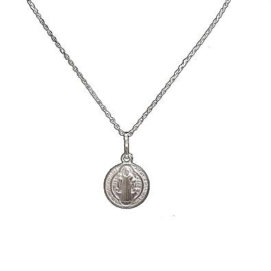 b3a6ae4b751 perlascarel Collar Colgante Medalla San Benito y Cruz de San Benito 12 mm  Plata de Ley con Cadena a 40 cm Plata de Ley y Estuche  Amazon.es  Joyería