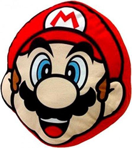 Little Buddy Super Mario Bros. 1259 Mario Face Cushion Pillow Stuffed Plush 11'' by Little Buddy